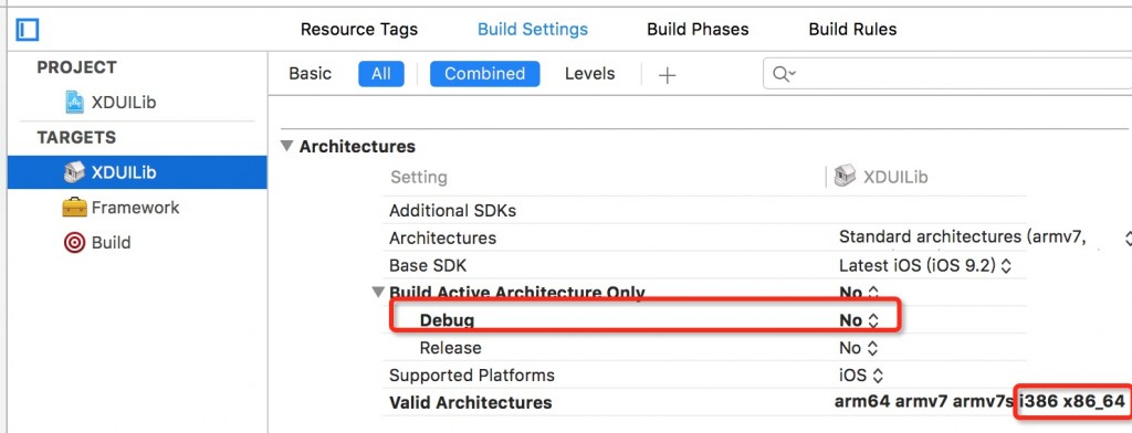 Xcode setting for static lib
